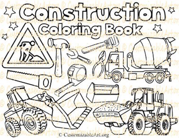 construction coloring book digital construction coloring pages sheets construction party zone site vehicle truck kids boys coloring book pdf
