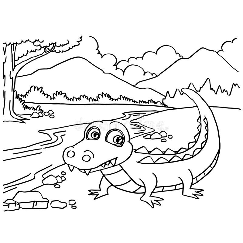 crocodile coloring pages vector stock vector illustration