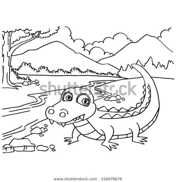 crocodile coloring pages vector stock vector royalty free