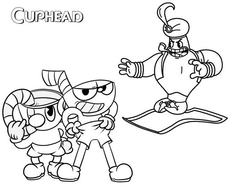 cups mugman and djimmi the great cuphead coloring page