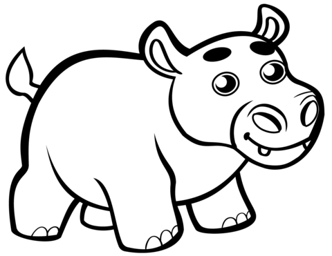 cute ba hippo coloring page free printable coloring pages