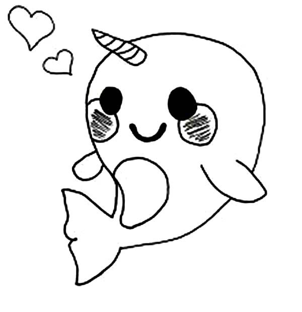 cute ba narwhal coloring pages cute easy drawings ba