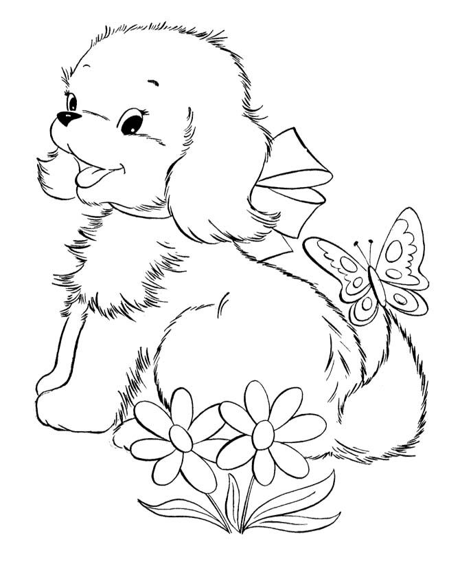 cute ba puppies and butterfly coloring page dog coloring