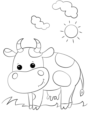 cute cartoon cow coloring page free printable coloring pages