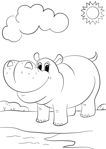 cute cartoon hippo coloring page free printable coloring pages