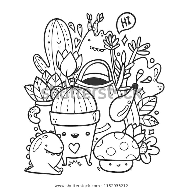 cute garden monsters doodle coloring page royalty free
