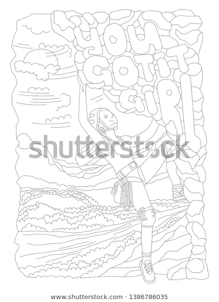 cute hand draw coloring page brave stock vektorgrafik