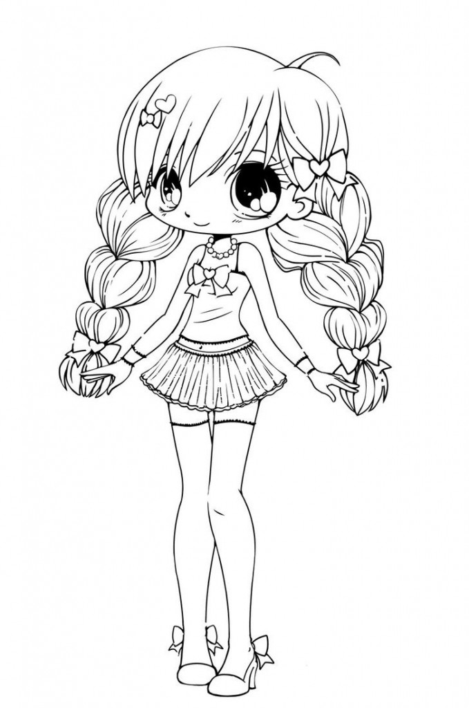 cute kawaii girl coloring pages