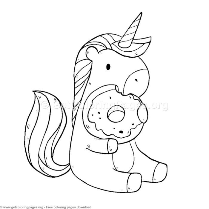 cute unicorn eating donuts coloring pages free instant