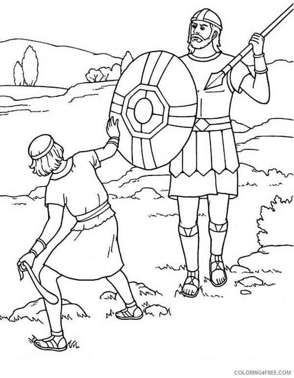 david and goliath coloring pages fighting coloring4free