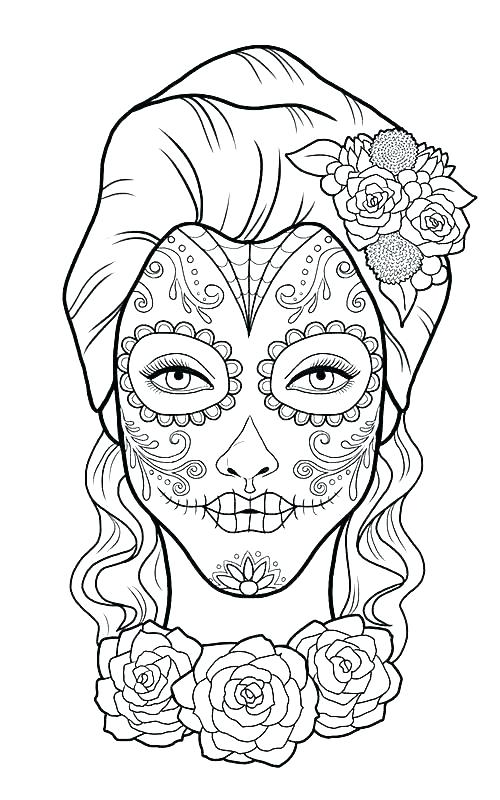 day of the dead coloring page pages free printable best