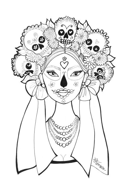 day of the dead coloring pages heather fonseca skull