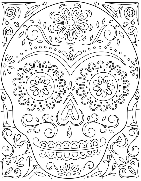 day of the dead sugar skull coloring page hallmark ideas