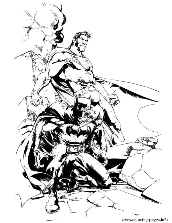 dc comics superhero batman and superman coloring pages
