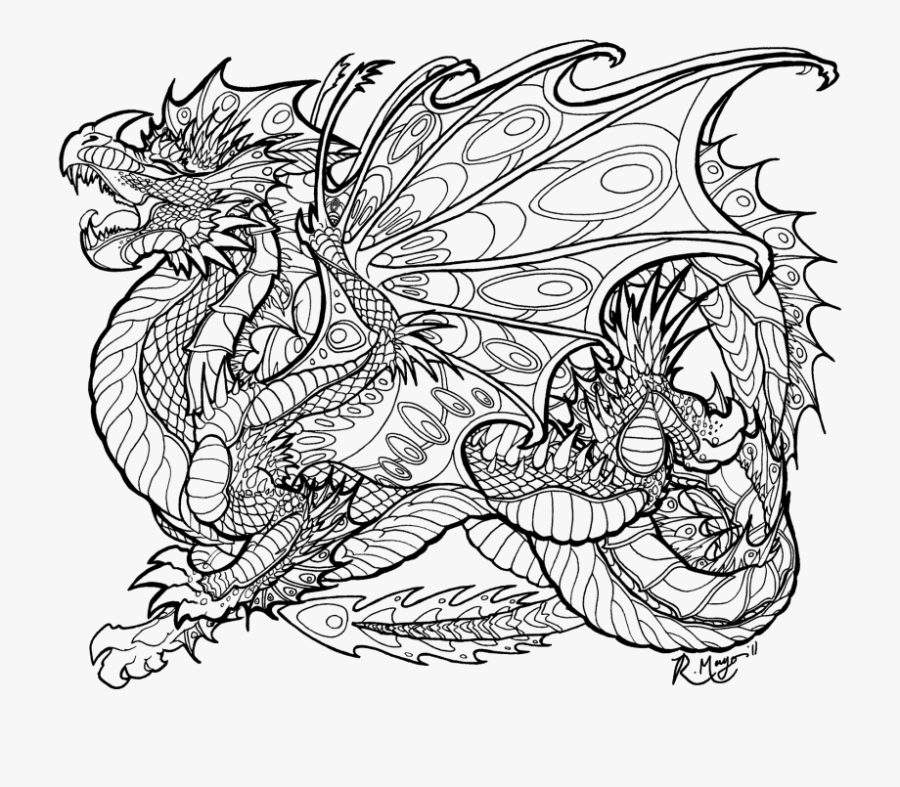 detailed dragon coloring pages for adults great free