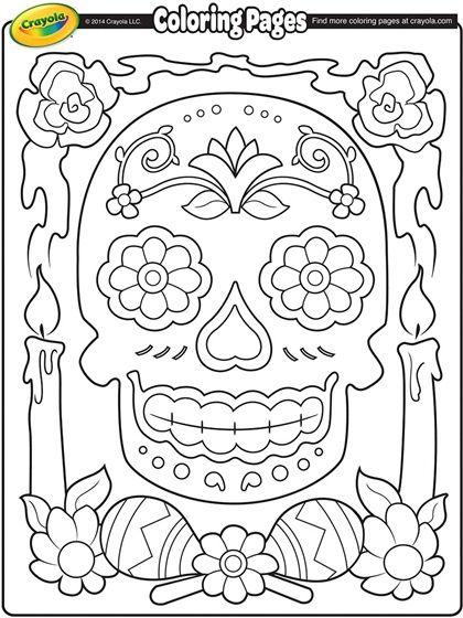 dia de los muertos coloring page sugar skulls pinterest