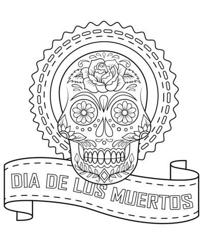 dia de los muertos sugar skull coloring page free