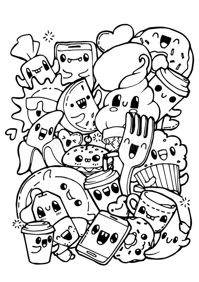 dining doodles coloring pages for kids stock vector