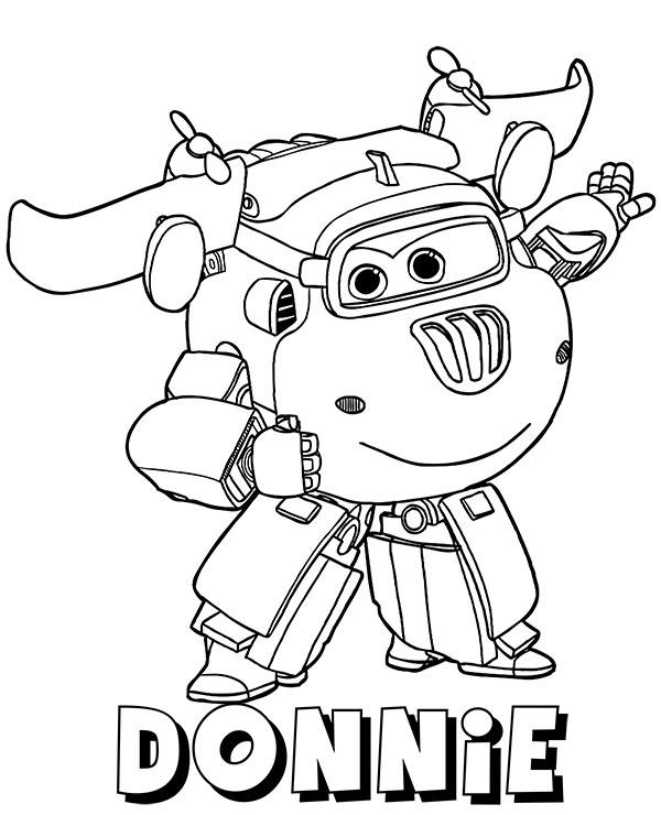 donnie plane on free printable coloring page super wings