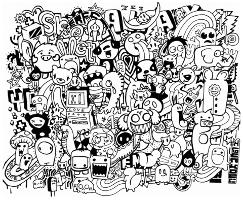 doodle mash up coloring page free printable coloring pages