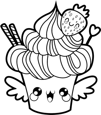 download kawaii food coloring pages cupcake kawaii png