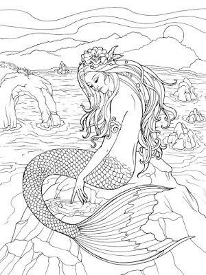 dragonfly treasure mermaid designs to color pinforlater