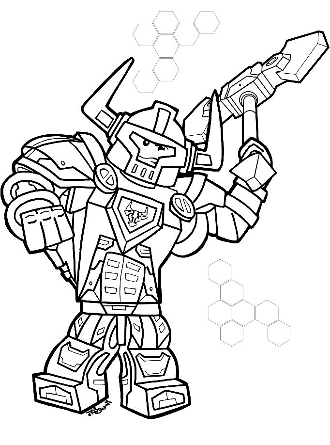 drawing dei lego nexo knights coloring page