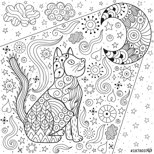 dreaming cat looking at the moon coloring page doodle black