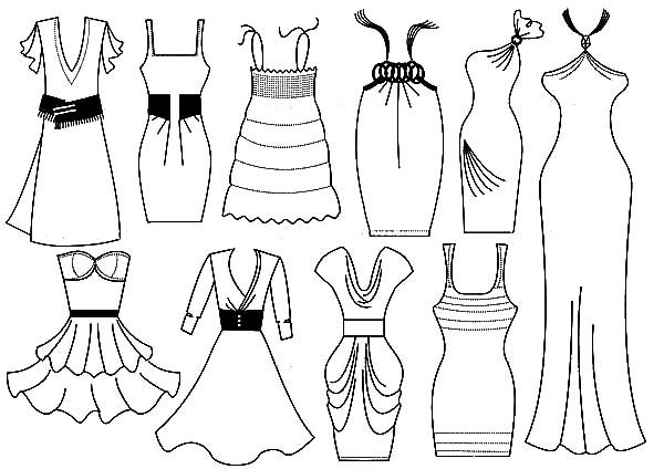 dresses fashion dresses design coloring pages