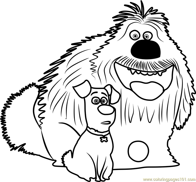 duke and max coloring page free the secret life of pets