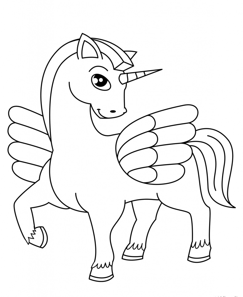 easy unicorn coloring pages printable for kids ecolorings