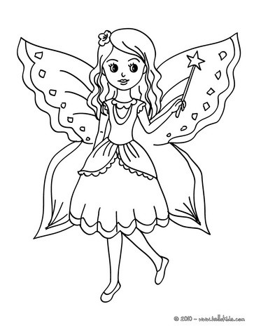 fairy with butterfly coloring pages hellokids