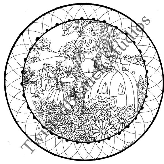 fall scarecrow coloring sheet coloring pages digital pages adult printable instant download coloring book cynthia kloeter