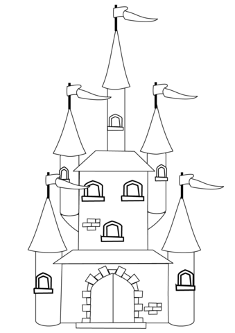 fantasy castle coloring page free printable coloring pages