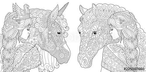 fantasy coloring pages with pretty girls horse magic
