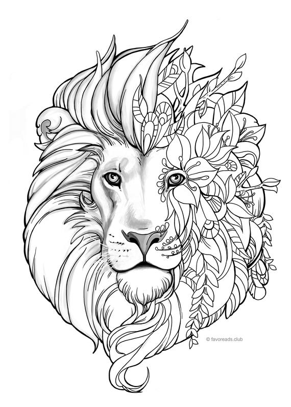 fantasy lion printable adult coloring page from favoreads coloring book pages for adults and kids coloring sheets coloring designs