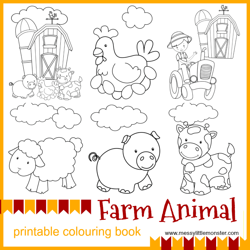 farm animal printable colouring pages messy little monster