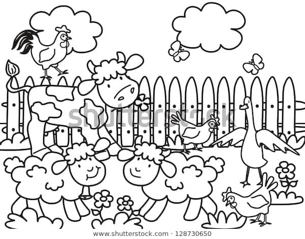 farm animals coloring page black white stock vektorgrafik