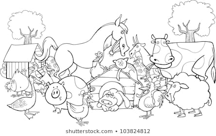 farm animals coloring pages images stock photos vectors