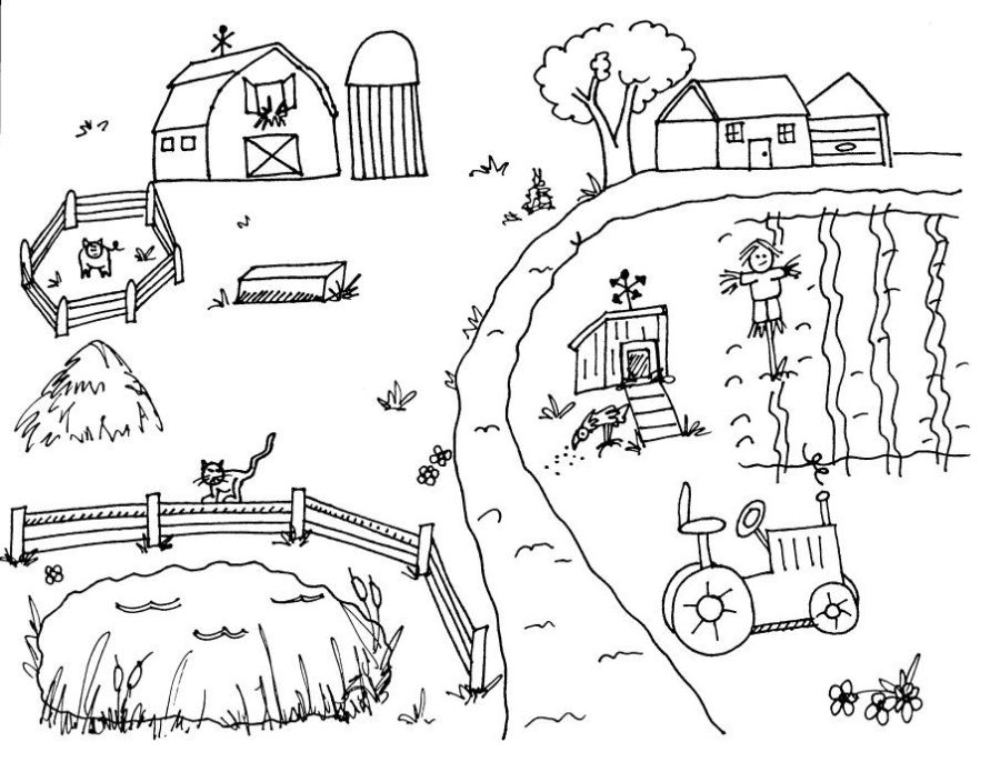 farm scene countryside coloring sheets bauernhof
