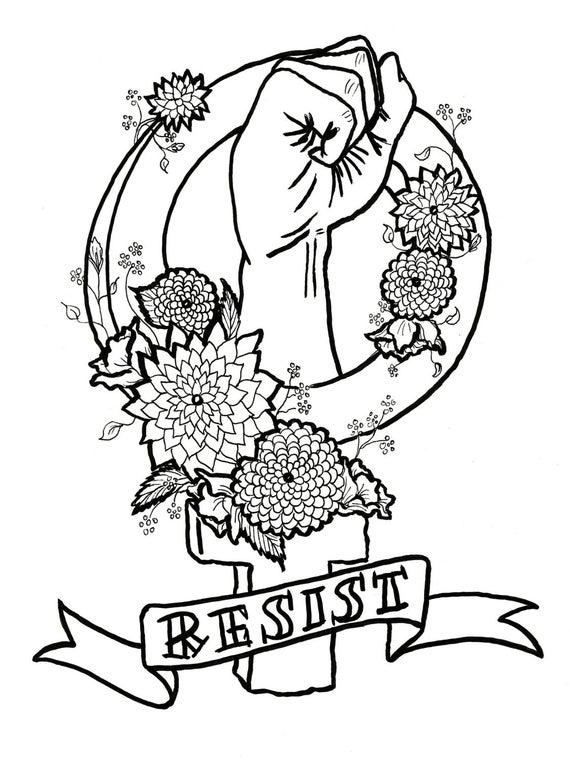 feminist killjoy adult coloring pages feminism resistance nasty woman foul language