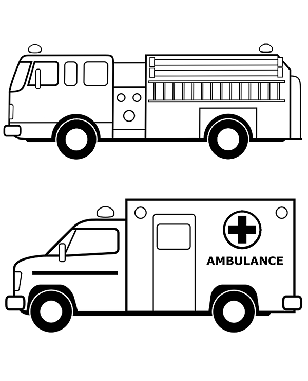 fire truck and ambulance coloring pages books to print