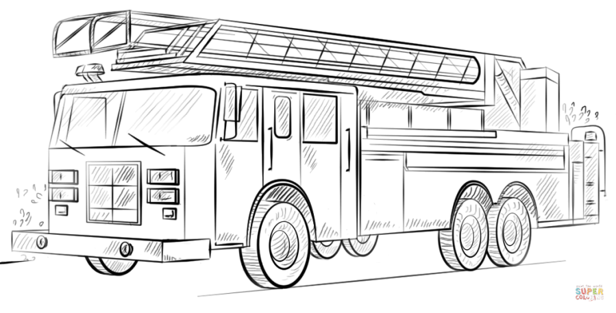 fire truck with ladder coloring page free printable