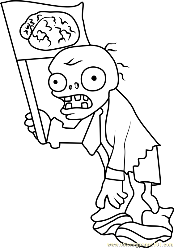 flag zombie coloring page free plants vs zombies coloring