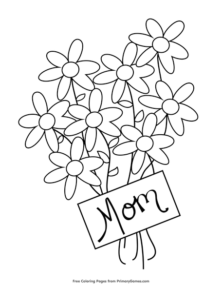 flowers for mom coloring page free printable pdf from