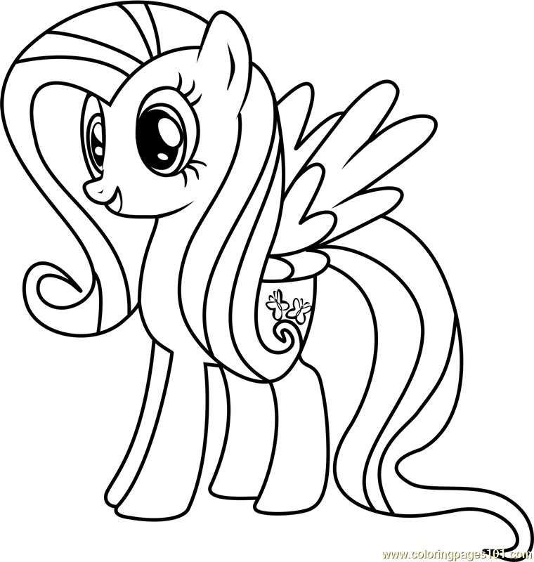 fluttershy coloring page free my little pony friendship