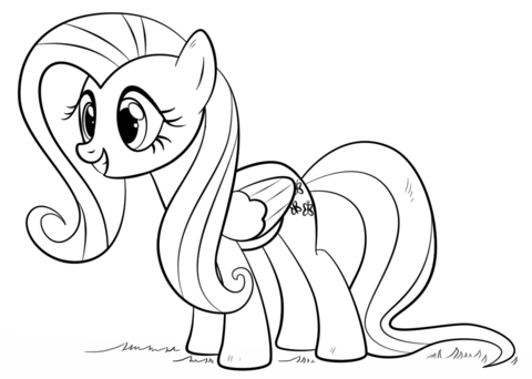 fluttershy pony coloring page free printable coloring pages