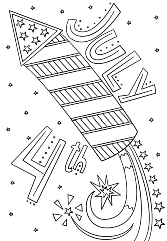 fourth of july fireworks doodle coloring page free