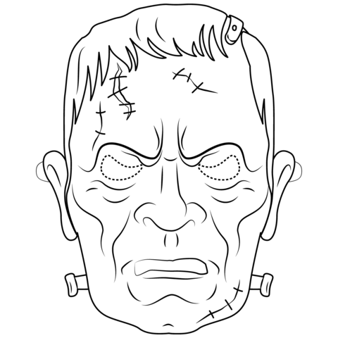 frankenstein mask coloring page free printable coloring pages