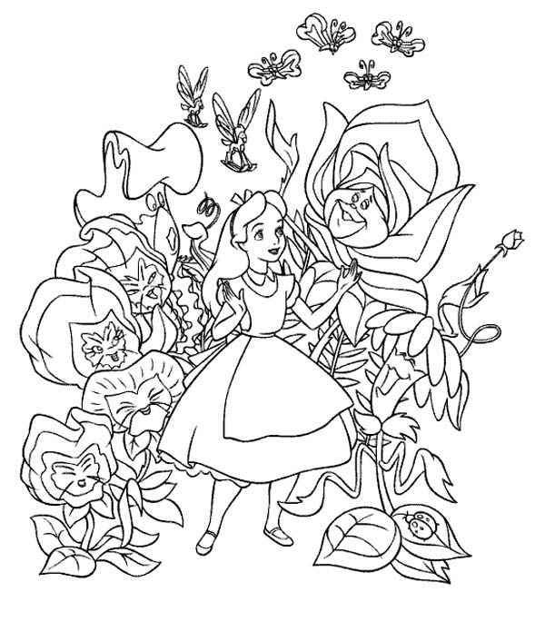 free alice in wonderland coloring pages to print